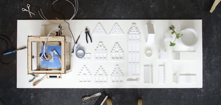 3-d printed house models on small printer