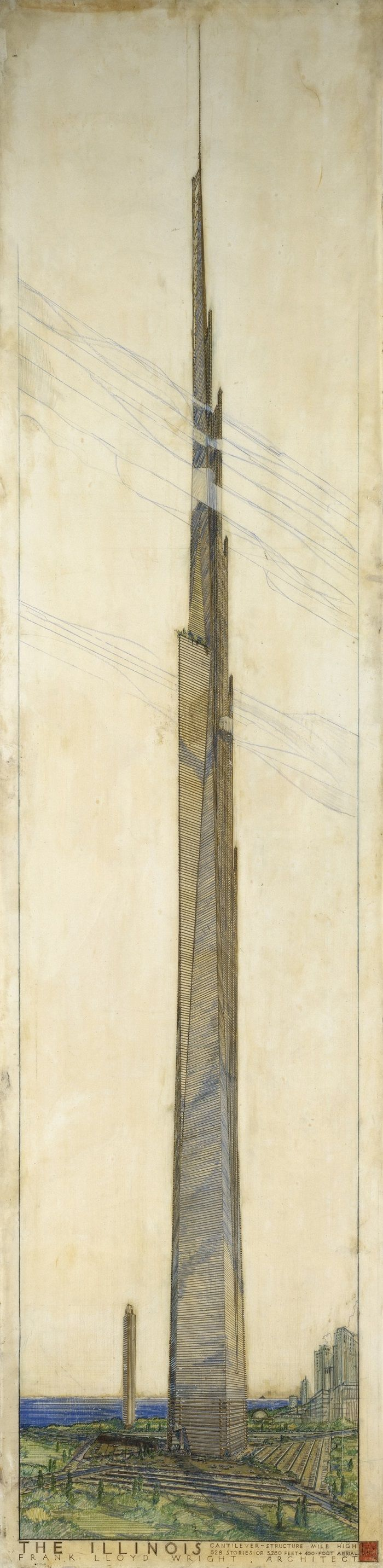 Frank Lloyd Wright's sketch for the Mile High Illinois Skyscraper