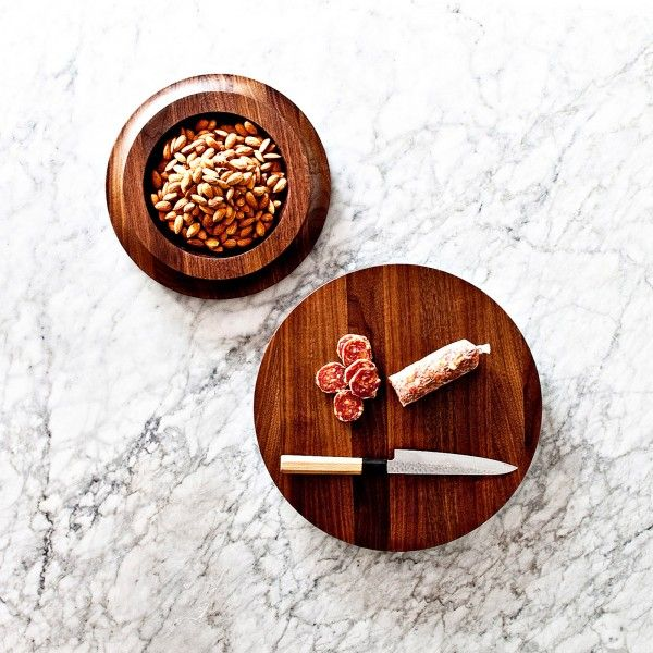 Serving board and snack bowl in one product made of rich walnut wood