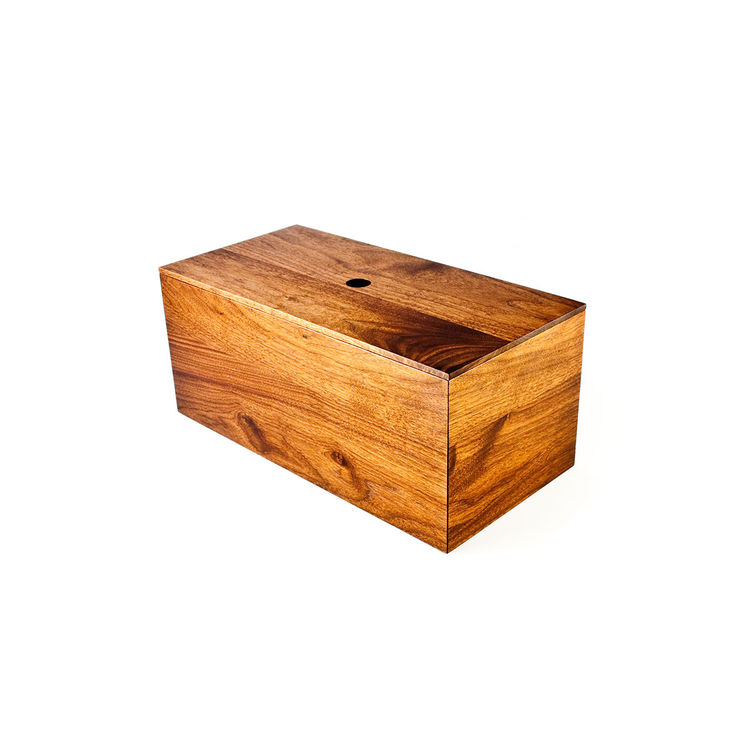 Walnut bread box that can be used to store a large loaf of bread, utensils, and accessories