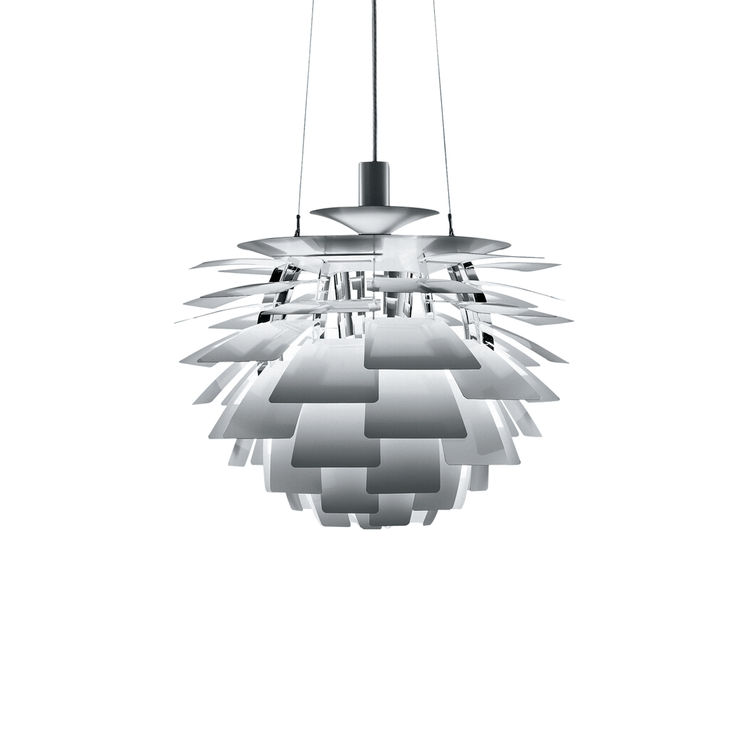Iconic midcentury sculptural pendant light designed as an abstract artichoke