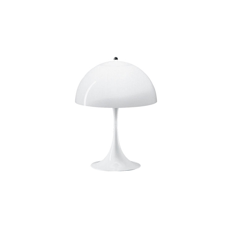 Iconic table light featuring organic mushroom-shape shade and geometric proportions