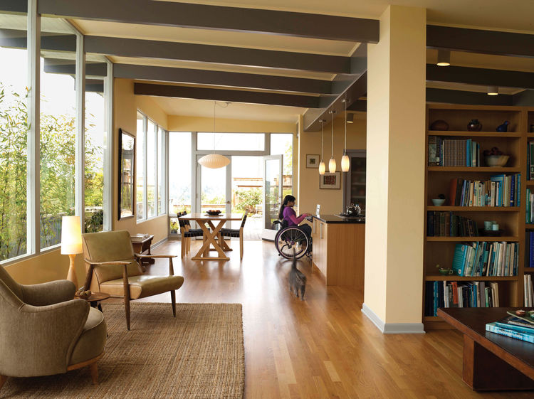Interior of modern, wheelchair friendly home with wood floors