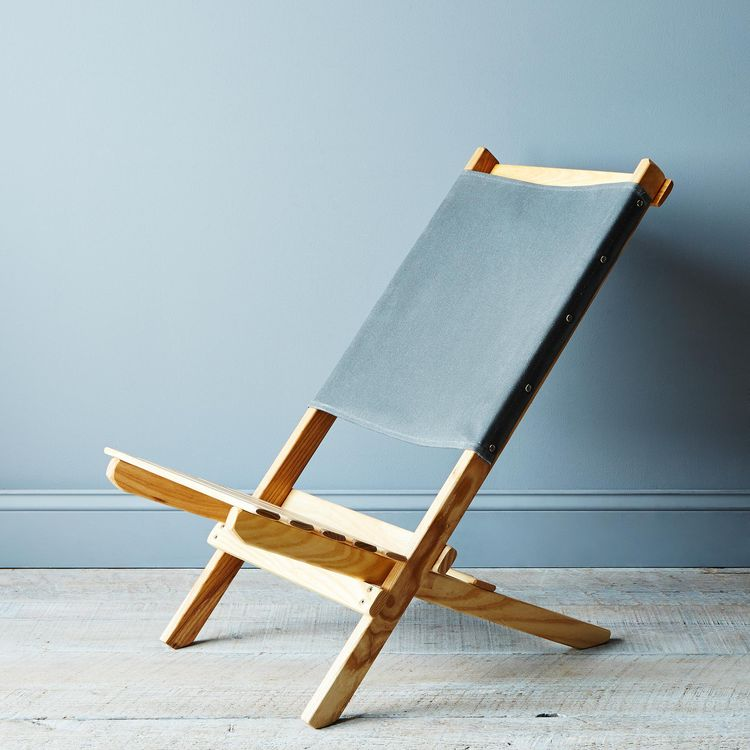 foldable travel chair with ash legs and canvas seat