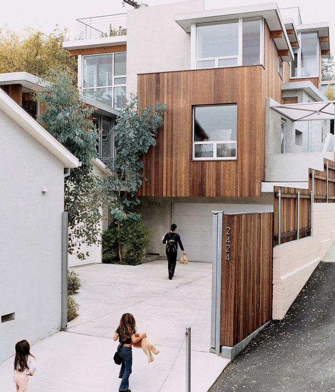 Modern house and driveway in California