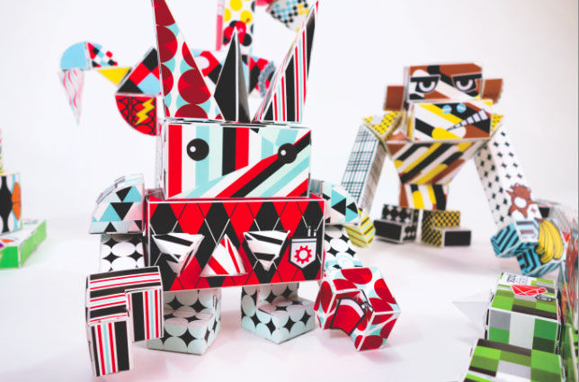 Colorful paper robot for kids