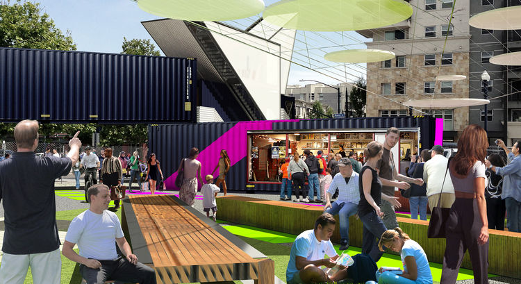 Urban pop-up park with repurposed shipping containers and beer garden