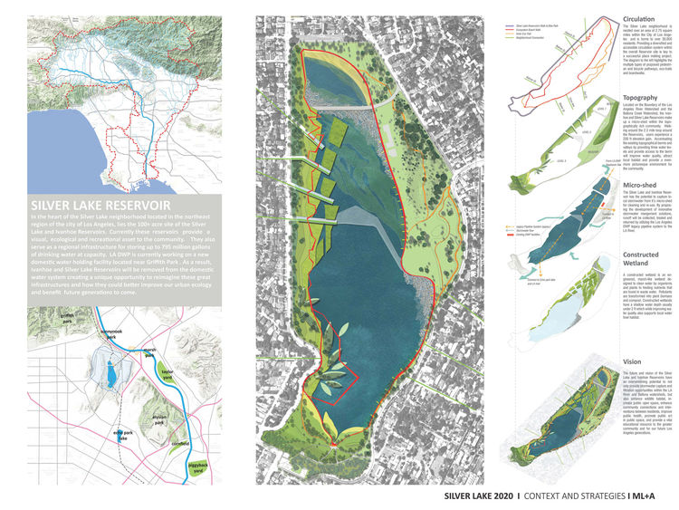 Color illustration of Silver Lake Reservoirs in Los Angeles