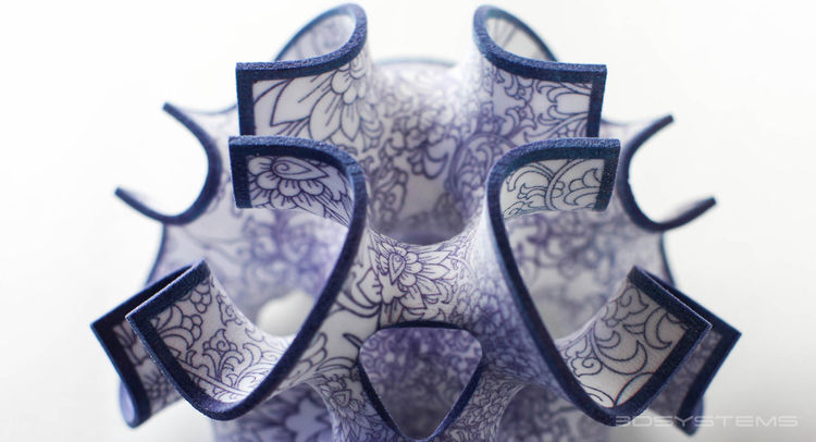 3-D-printed candy with blue floral pattern