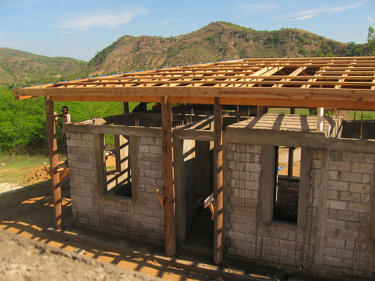 Sustainable building in rustic setting in Haiti