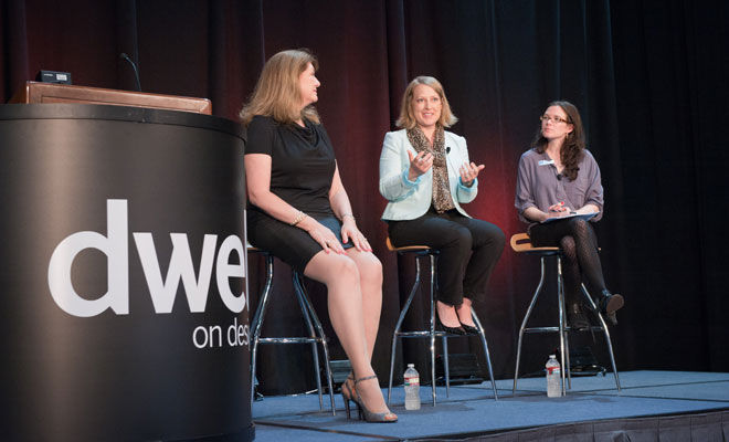 Dwell President Michela O-Connor-Abrams onstage at Dwell on Design