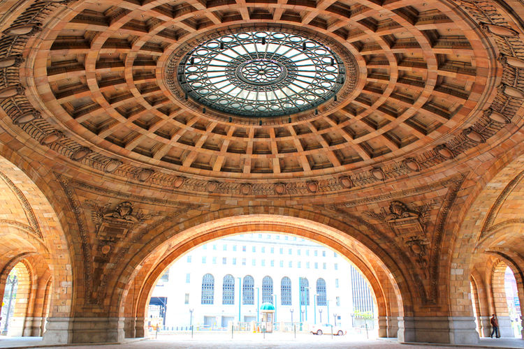 grand ornate arch and skylight in union station pittsburgh