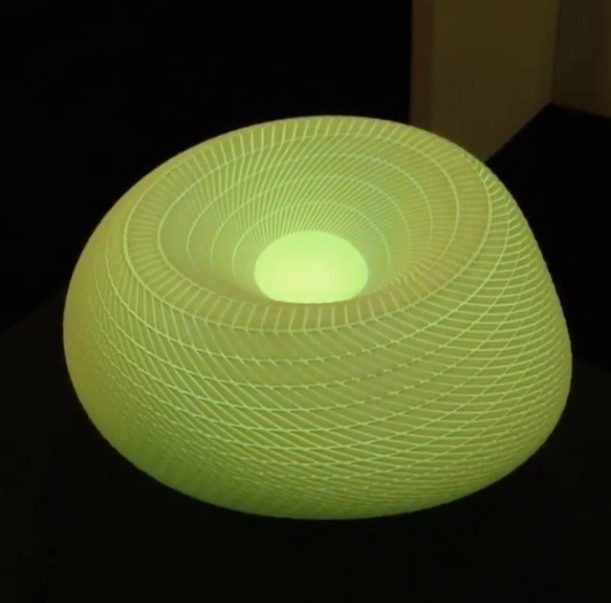 3-d printed light-up sculpture at dwell on design