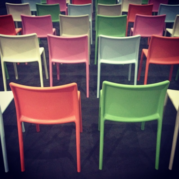 colorful chairs at the kohler stage at dwell on design