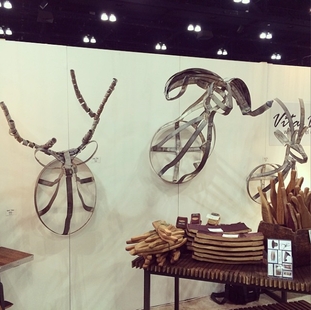 metal animal head trophies at dwell on design