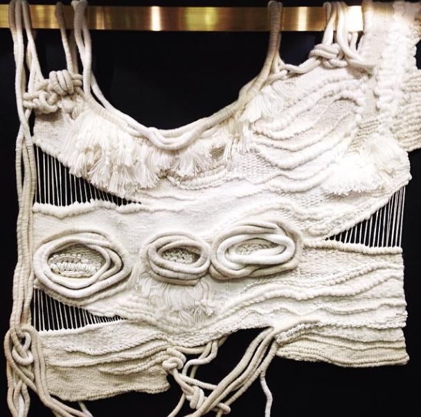 hanging textile art at dwell on design
