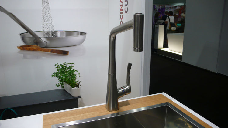modern faucet, brushed steel