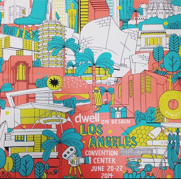 colorful poster of los angeles
