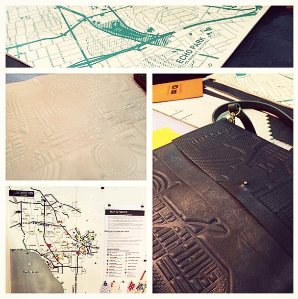 leather messenger bag made from map of LA at dwell on design