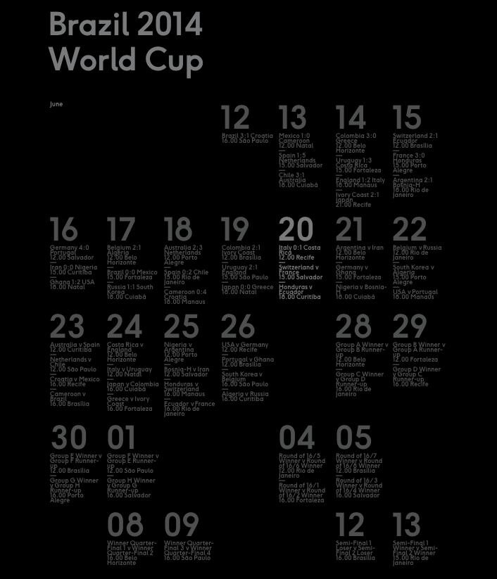 World Cup minimal website