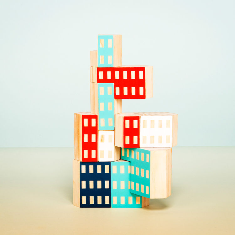 Set of colorful blocks designed in reference to Brutalist design