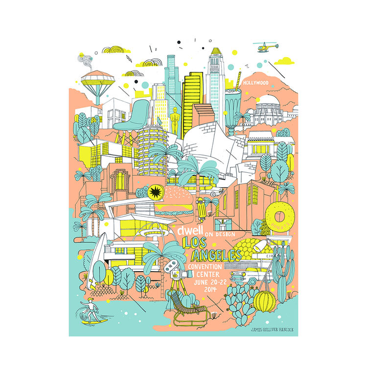 Limited edition event poster for Dwell on Design Los Angeles 2014 featuring midcentury colors and architectural highlights of Los Angeles