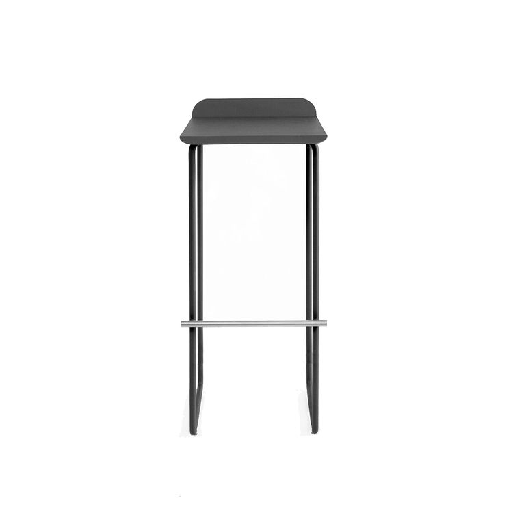 Steel stool with minimalist silhouette and contrast footrest