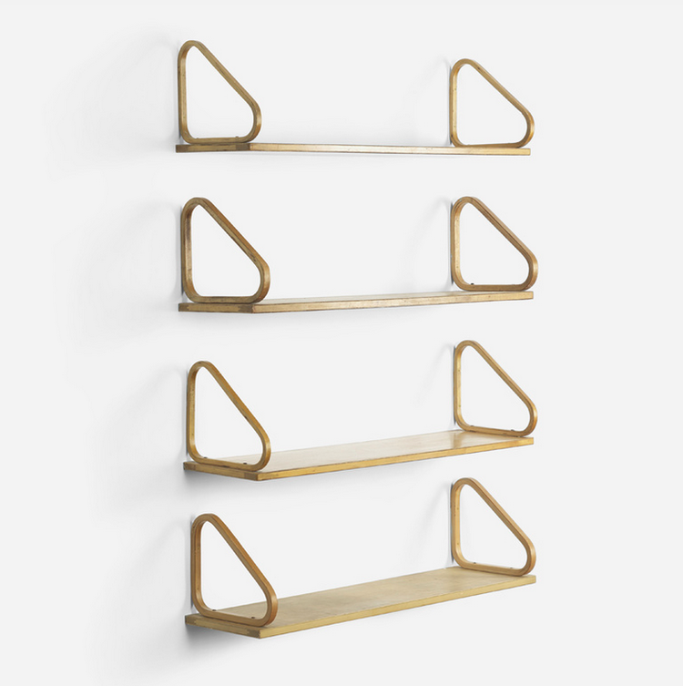 Alvar Aalto birch plywood wall shelves at Wright modern design auction