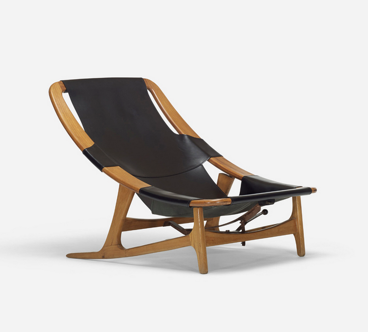 Wright 20th century furniture design auction includes a leather sling armchair by Norwegian designer Arne Tidemand Ruud