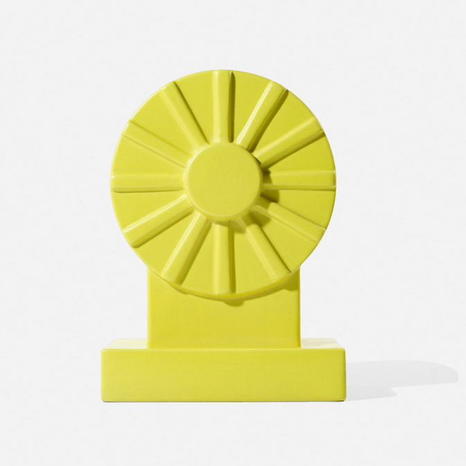 Ettore Sottsass Yantra series yellow Memphis style vase in the Wright 20th century design auction.
