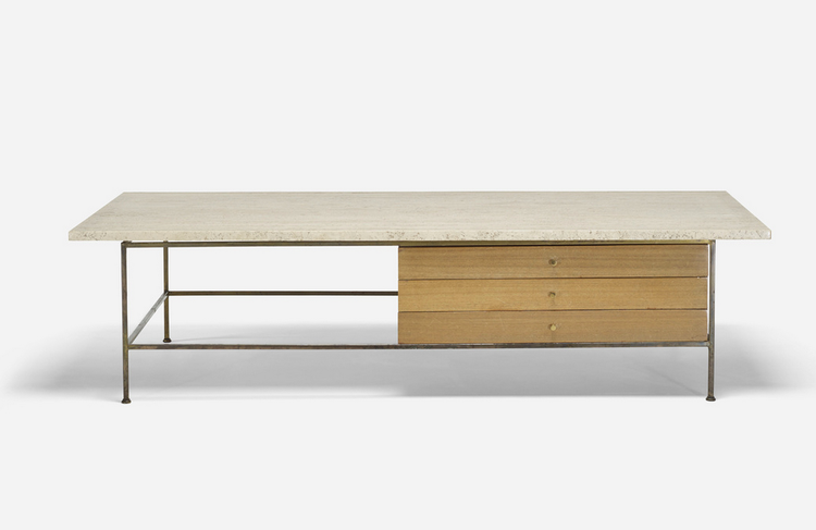 Paul McCobb wood and travertine coffee table at Wright midcentury design auction.