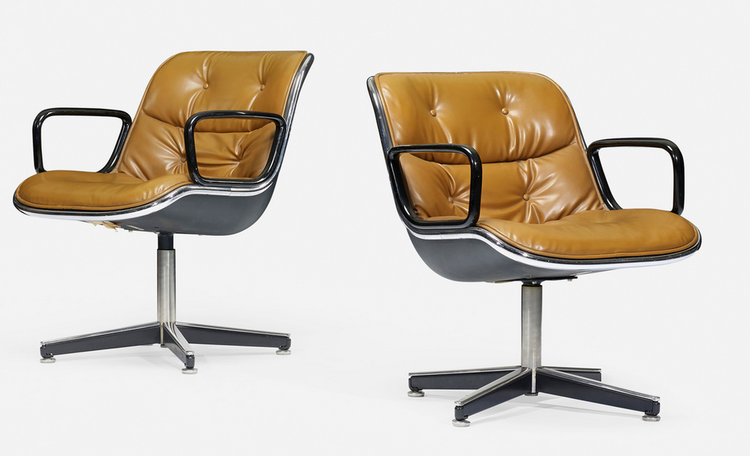 Wright auction leather office chair Charles Pollock for Knoll.