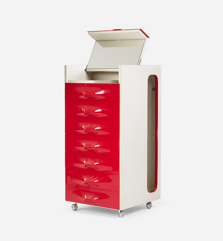 Raymond Loewy red laminate storage cabinet at Wright modern design auction.