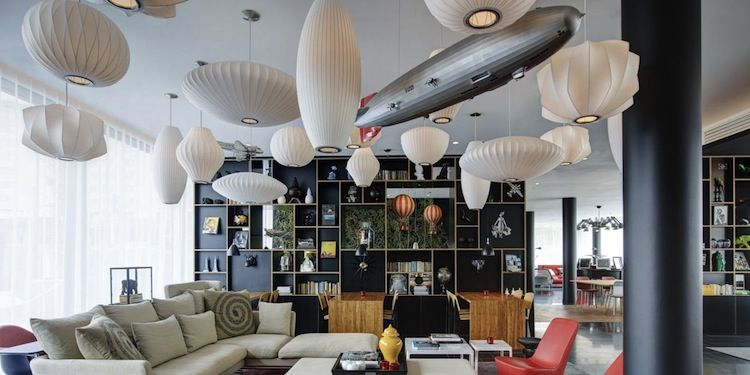 the lounge of a boutique Paris hotel