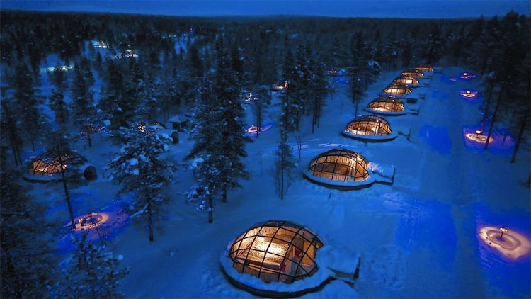 Rural Finnish cabins near the Arctic Circle