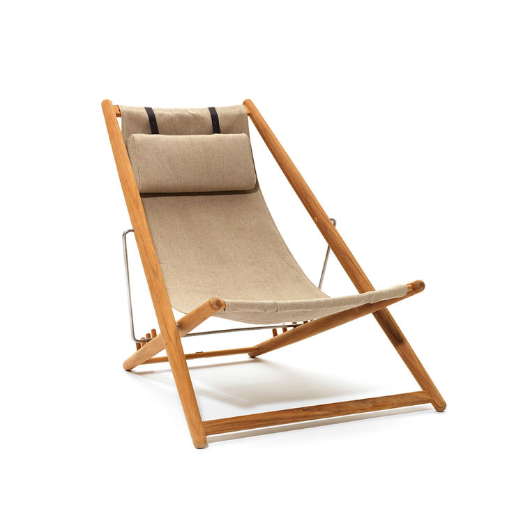 Folding teak and canvas lounge chair with adjustable frame