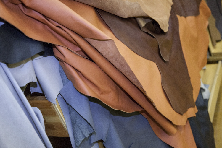 leather samples at GM technical center