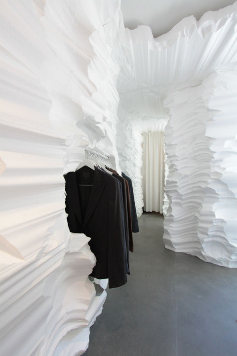 A fashion pop-up made from carved foam