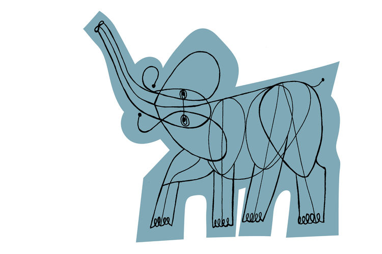 Screen-printed blue elephant with hand-drawn charcoal line work