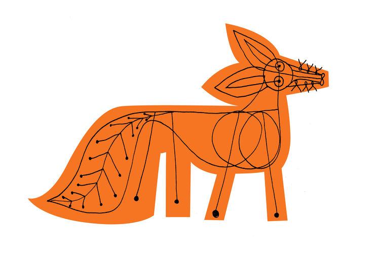 Screen-printed orange fox with hand drawn charcoal embellishment
