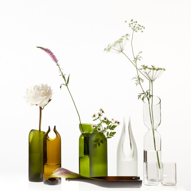 Two hole glass vase with flowers from the Dwell Store