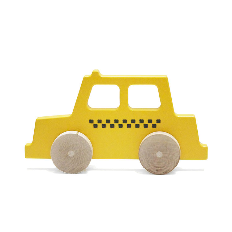 Wood push toy inspired by New York City taxi cab