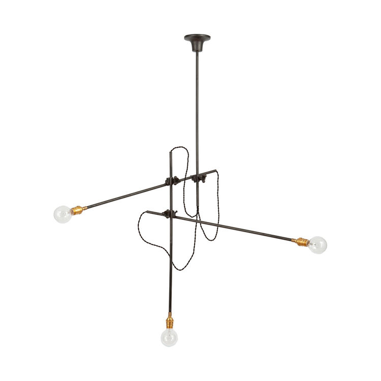 Versatile three-arm chandelier that can be converted in several configurations