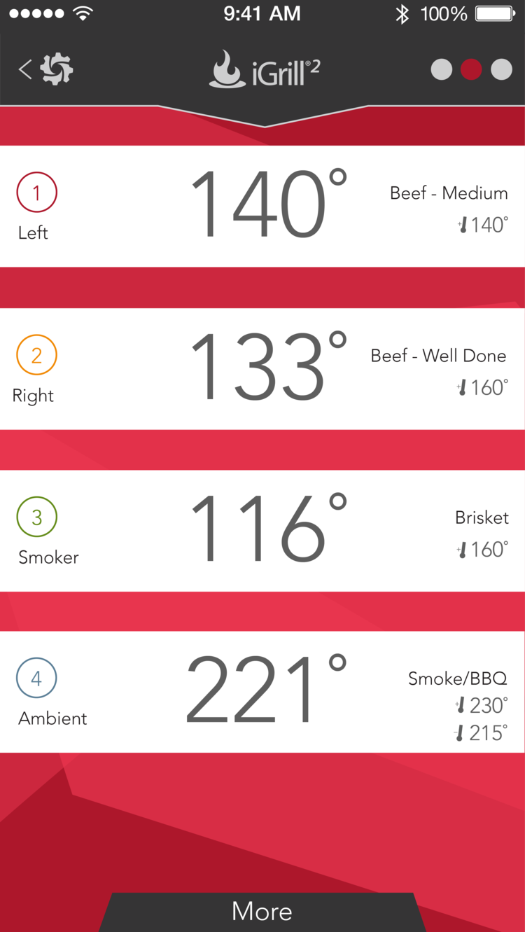iGrill2 meat probe smartphone app dashboard