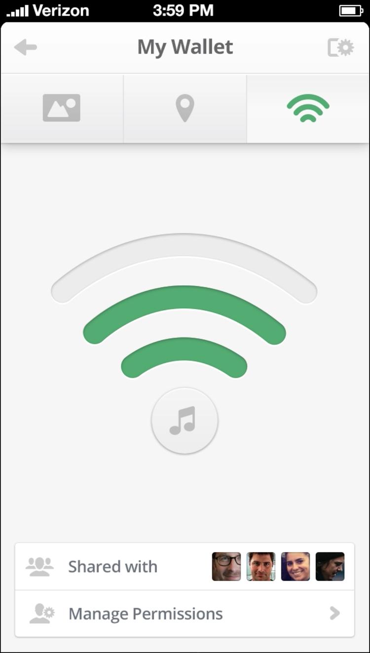 Tile transponder smartphone app dashboard