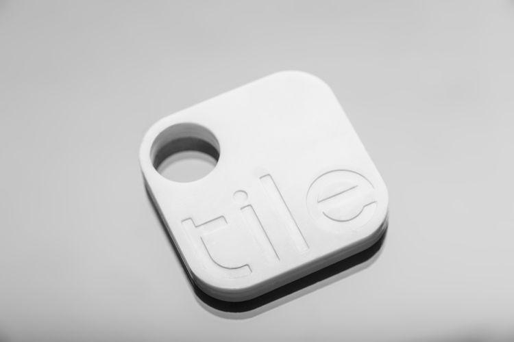 Tile transponder on gray background