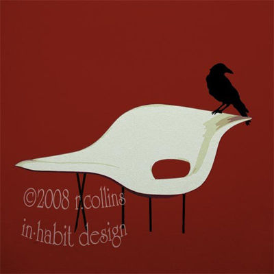 Eames La Chaise with crow print