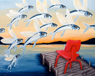 Jill Dryer painting of Eames Plywood lounge chair with fish