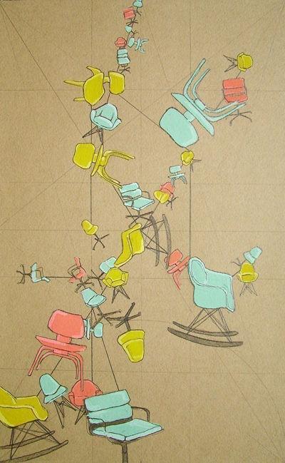 Maria Jonosko print of soaring Eames loungers and rockers