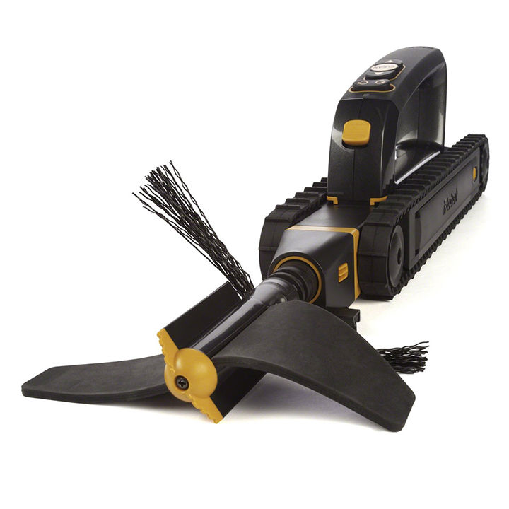 Robotic gutter cleaner in black and yellow